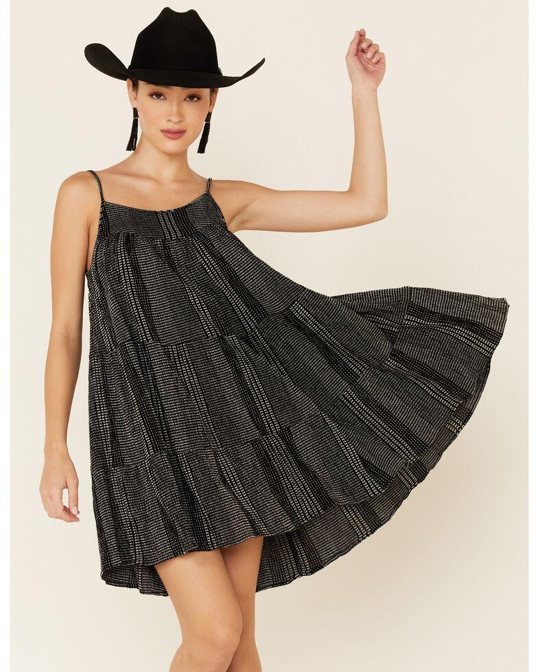 Elan Women's Black & White Stitch Tiered Sundress, Black, hi-res