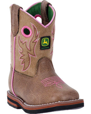 John Deere Infant Girls' Embroidered Western Boots, Tan, hi-res
