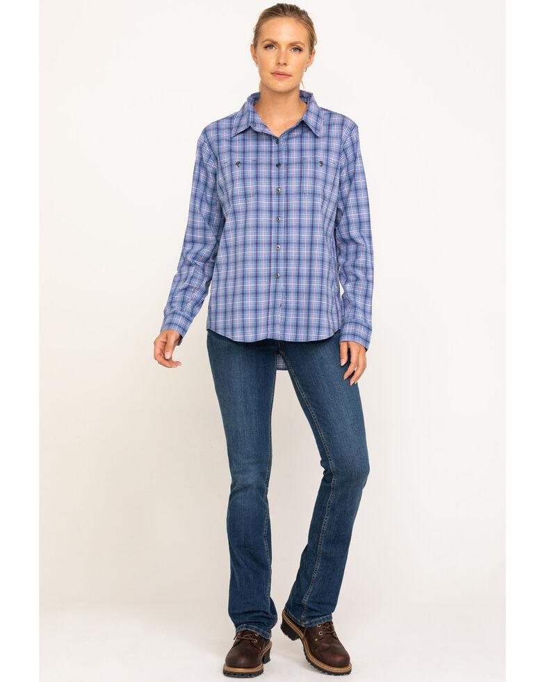 Wrangler Riggs Women's Blue Plaid Long Sleeve Work Shirt  , Blue, hi-res