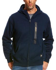 Ariat Men's Navy Rebar Full Zip Hooded Work Sweatshirt , Navy, hi-res