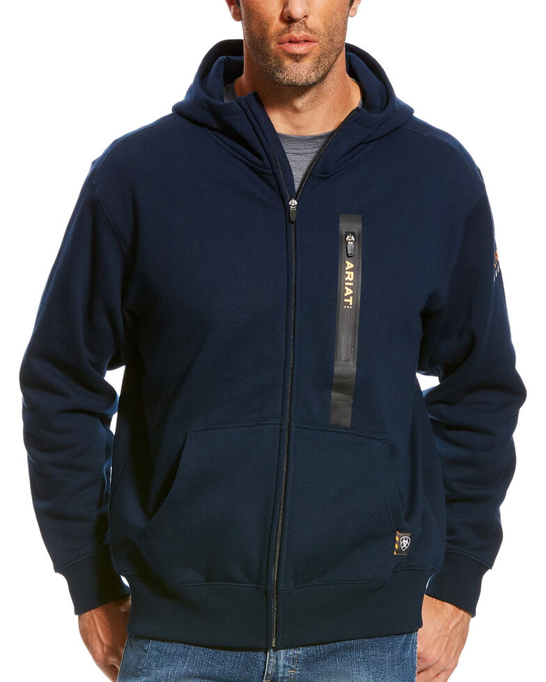Ariat Men's Navy Rebar Full Zip Hooded Work Sweatshirt , Navy, hi-res