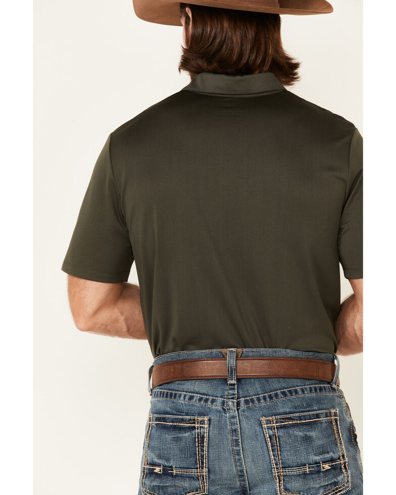 Panhandle Men's Solid Forest Green Short Sleeve Polo Shirt , Olive, hi-res