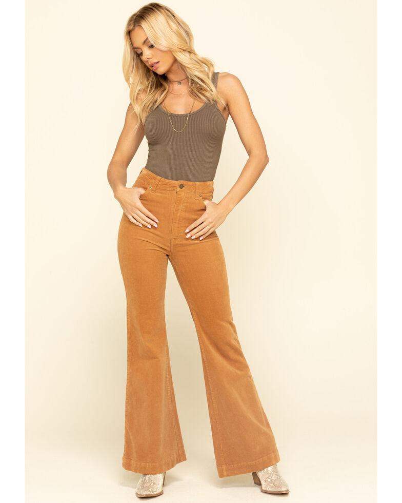 Rolla's Women's Tan Corduroy Flare Jeans, Tan, hi-res
