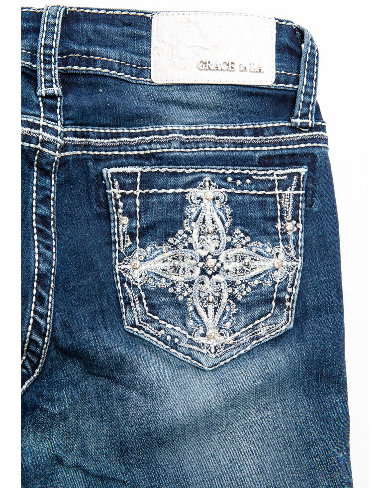 Grace in LA Girls' Cross Embroidery Bootcut Jeans, Blue, hi-res