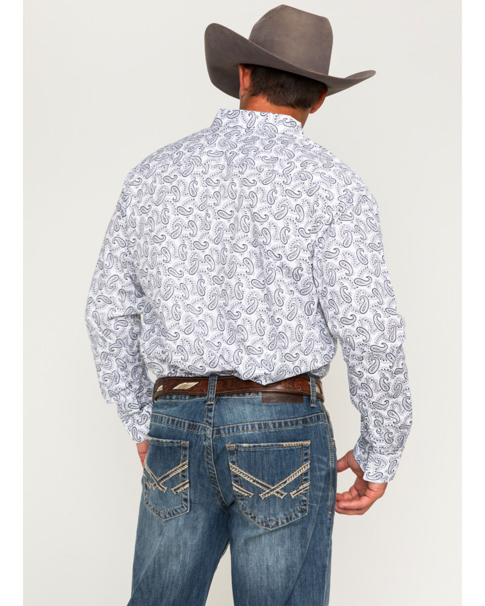 Cody James® Men's Paisley Print Long Sleeve Shirt, White, hi-res