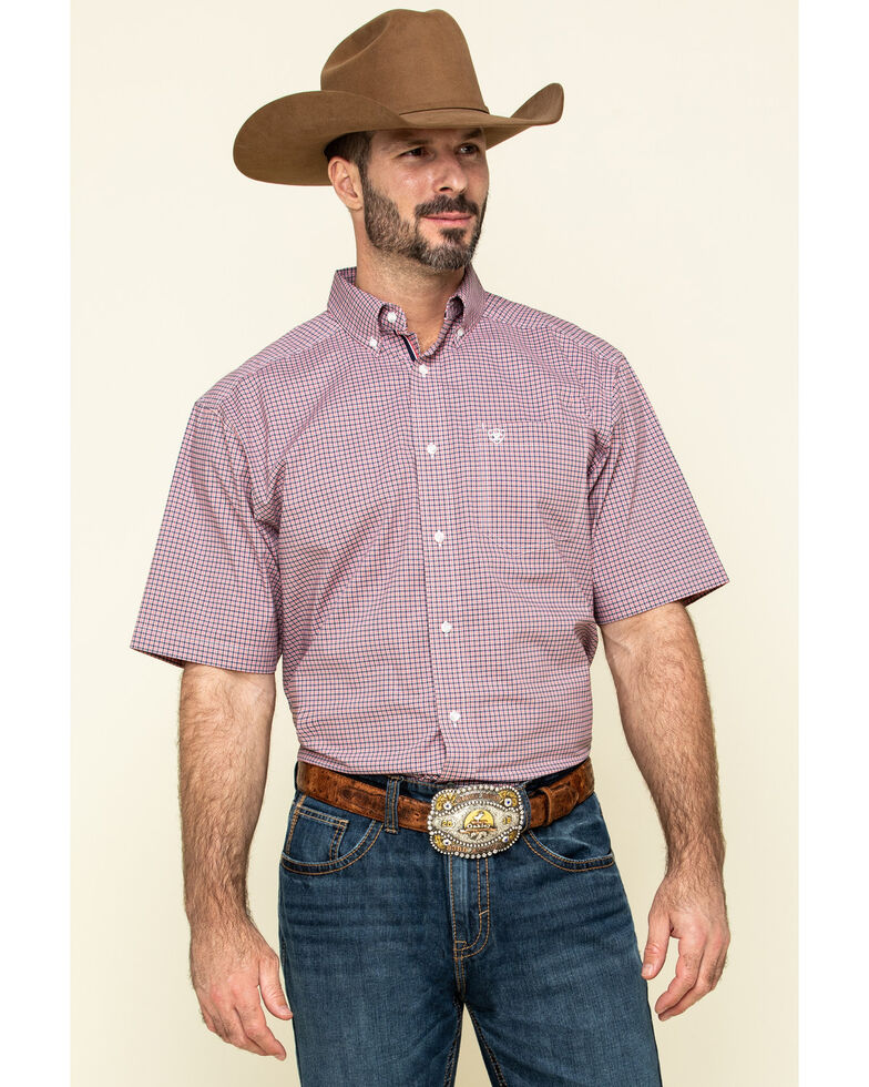 Ariat Men's Sherwood Stretch Small Plaid Short Sleeve Western Shirt - Tall , Multi, hi-res