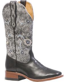 Boulet Women's Torino Black Thunder Blanco Cowgirl Boots - Square Toe, Black, hi-res