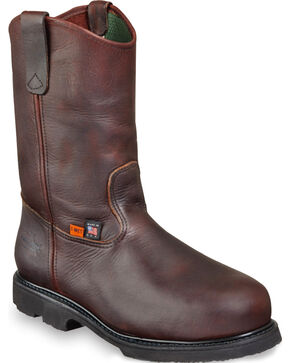 "Thorogood Men's 10"" Metguard Wellington Work Boots - Steel Toe, Dark Brown, hi-res"