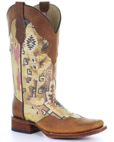 Circle G by Corral Women's Aztec Print Western Boots - Square Toe, Tan, hi-res