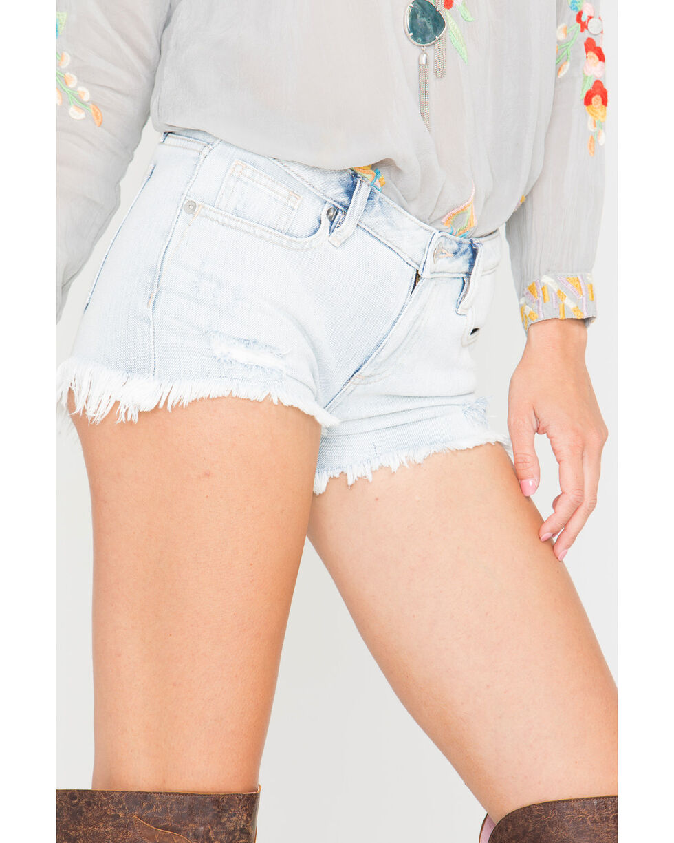 Miss Me Women's Fray By Your Own Rules Mid-Rise Shorts, Indigo, hi-res