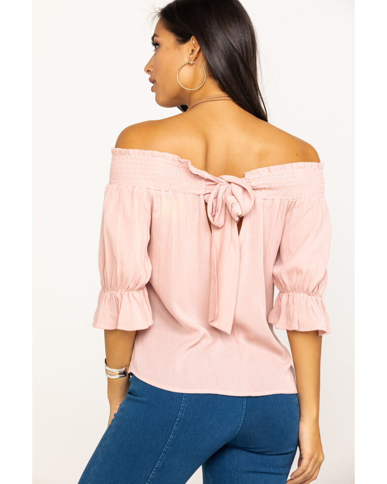 Ces Femme Women's Floral Embroidered Off The Shoulder Shirt, Blush, hi-res