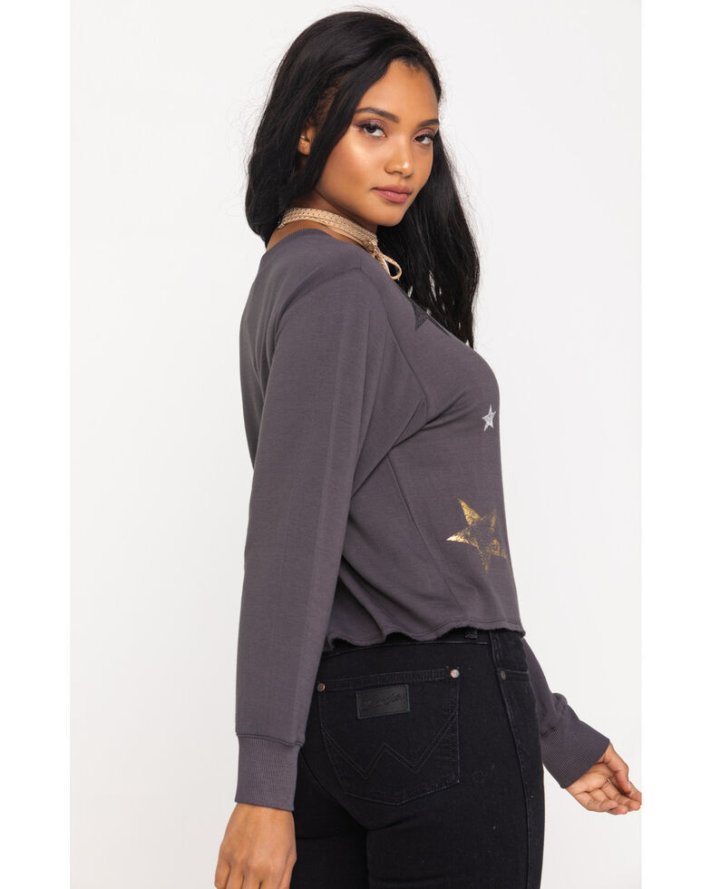 Z Supply Women's Charcoal Foil Star Pullover, Charcoal, hi-res