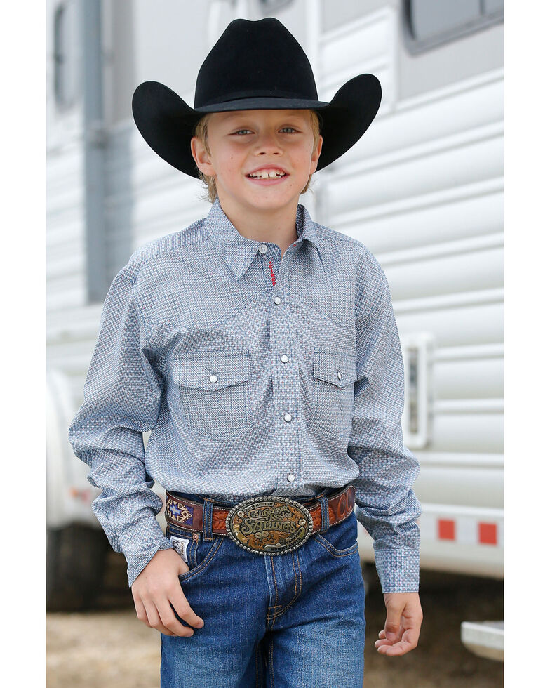 Cinch Boys' Multi Geo Print Snap Long Sleeve Western Shirt , Purple, hi-res