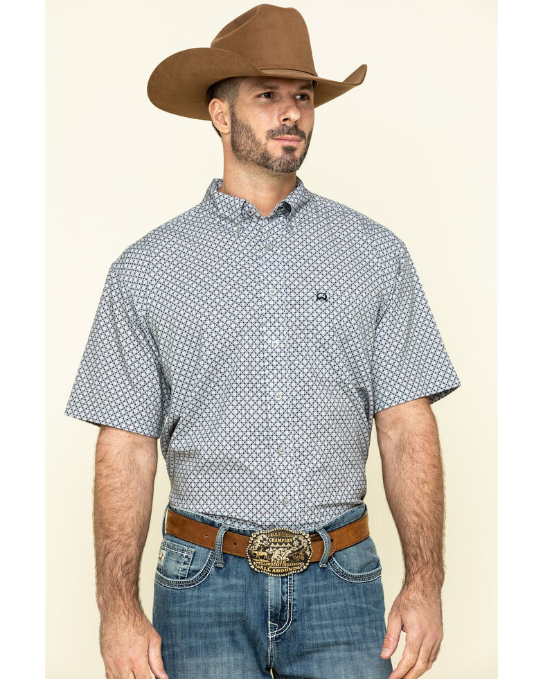 Cinch Men's Arena Flex Grey Geo Print Button Short Sleeve Western Shirt , Grey, hi-res