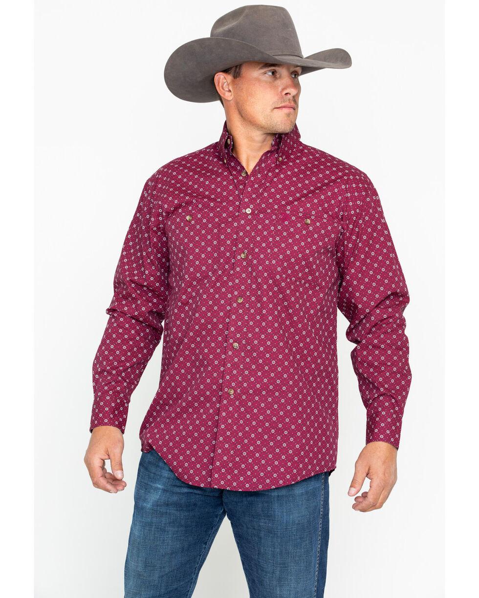 George Strait by Wrangler Men's Wine Long Sleeve Western Shirt, Wine, hi-res