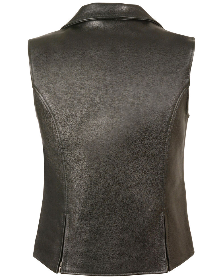Milwaukee Leather Women's Lapel Collar Long Zipper Front Vest, Black, hi-res