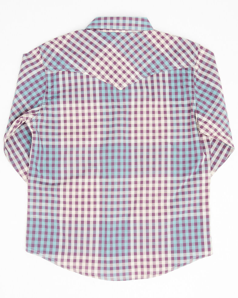 Wrangler Girls' Purple Plaid Snap Long Sleeve Western Shirt, Purple, hi-res