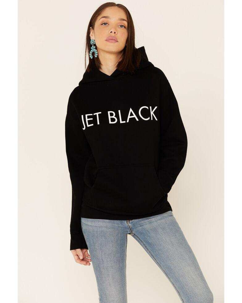 Brunette The Label Women's Black Jet Black Graphic Hoodie, Black, hi-res