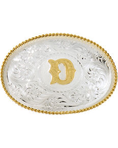 Montana Silversmiths Initial D Western Buckle, Silver, hi-res