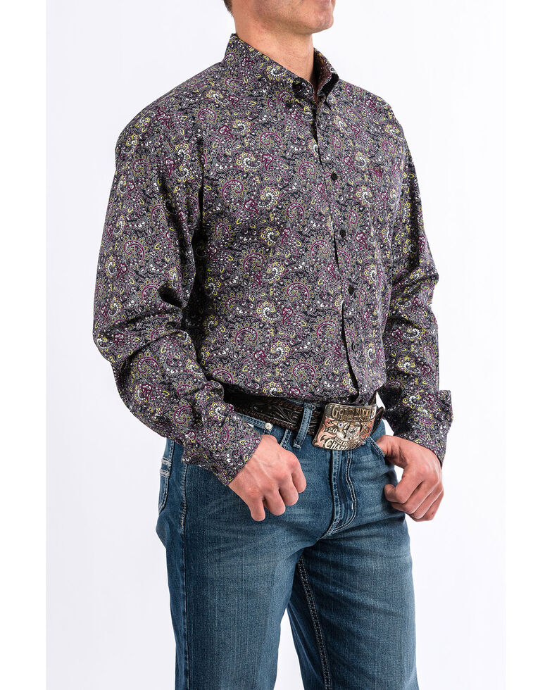 Cinch Men's Black Geo Print Weave Long Sleeve Western Shirt , Black, hi-res