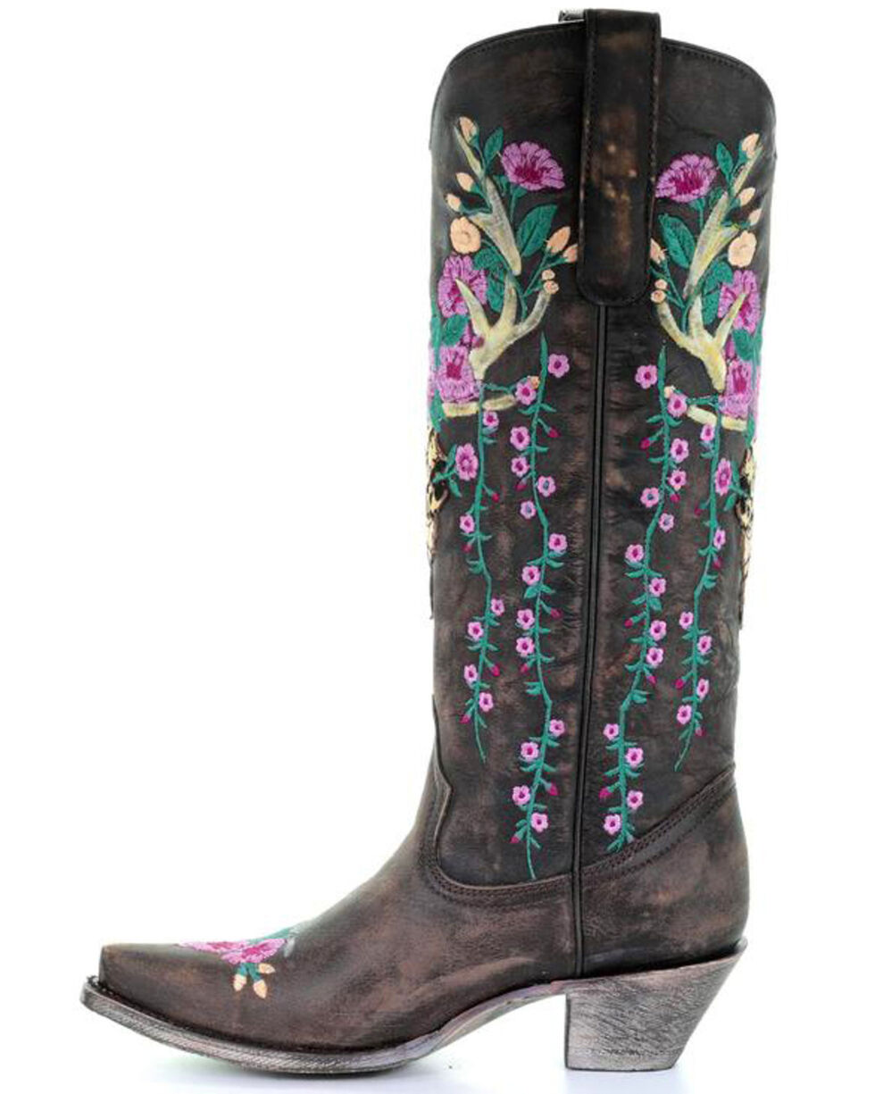 Corral Women's Brown Deer Skull Overlay Floral Embroidered Cowgirl Boots - Snip Toe, Brown, hi-res