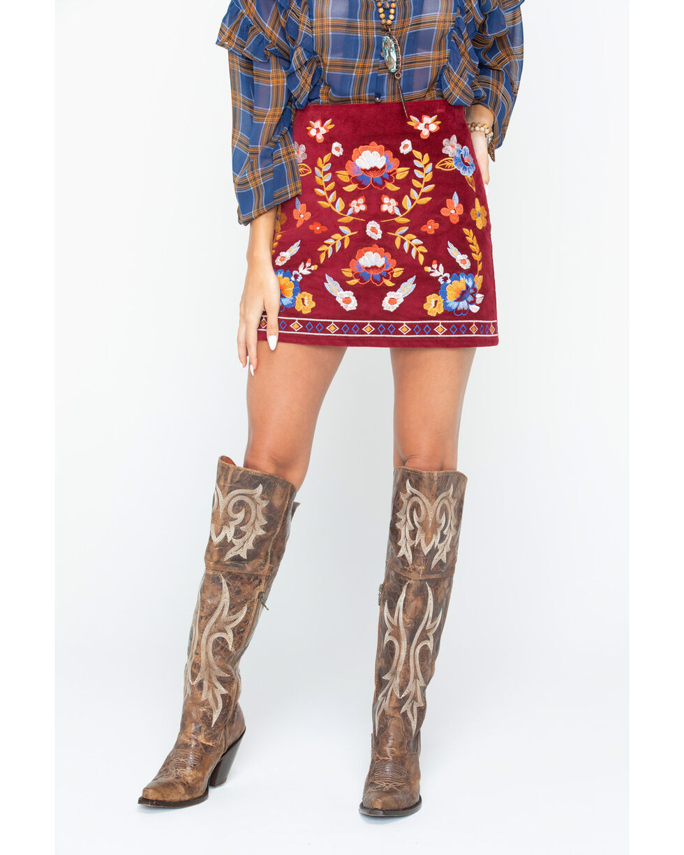 Flying Tomato Women's Floral Embroidered Mini Skirt , Wine, hi-res