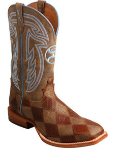 Twisted X Men's Hooey Diamond Basketweave Cowboy Boots - Square Toe, Brown, hi-res