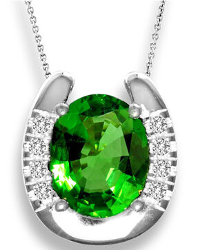 Kelly Herd Women's Emerald Solitaire Horseshoe Pendant Necklace , Green, hi-res