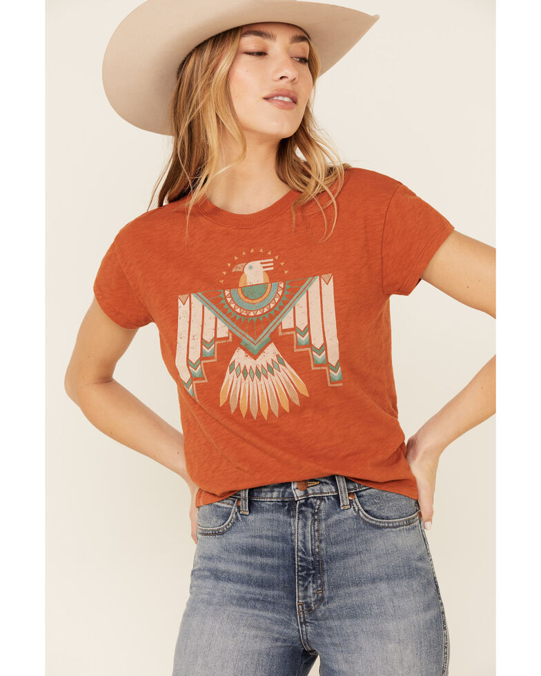 White Crow Women's Flocked Thunderbird Graphic Rolled Cuff Short Sleeve Tee , Rust Copper, hi-res