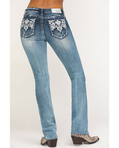 Grace in LA Women's Aztec Embellished Bootcut Jeans, Blue, hi-res
