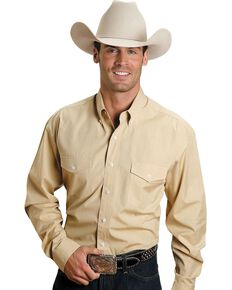 Stetson Solid Button Shirt, Yellow, hi-res