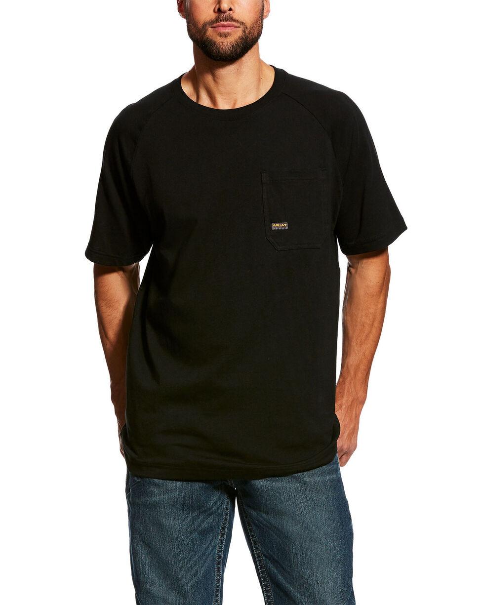 Ariat Men's Rebar Cotton Strong Short Sleeve Logo Crew T-Shirt - Tall , Black, hi-res