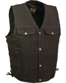 Milwaukee Leather Men's Side Lace Denim Vest w/ Chest Pockets - Big - 3X, Black, hi-res