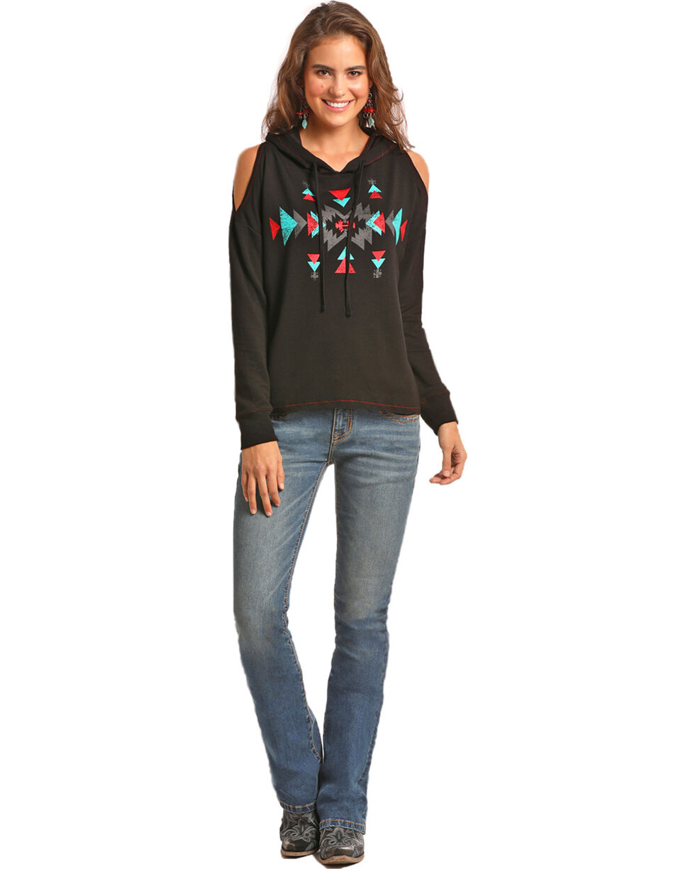 Rock & Roll Cowgirl Women's Black Cold Shoulder Aztec Hoodie , Black, hi-res