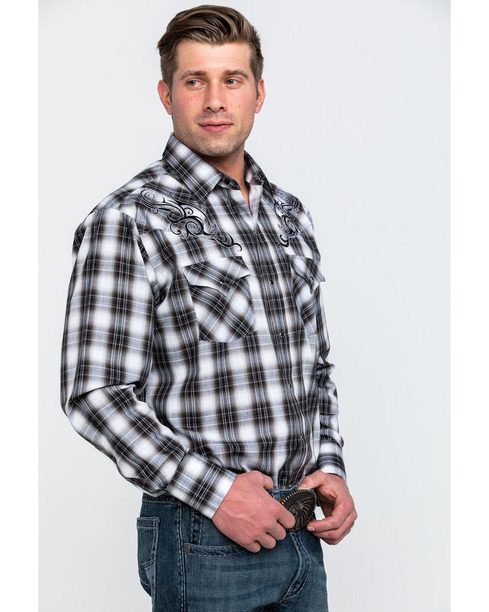 Ely Cattleman Men's Black Retro Plaid Embroidered Long Sleeve Western Shirt , Black, hi-res