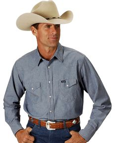 Wrangler Men's Authentic Cowboy Cut Denim Long Sleeve Work Shirt , Chambray, hi-res