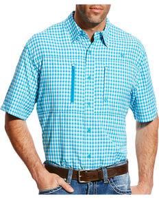 Ariat Men's Blue Venttek Short Sleeve Western Shirt , Turquoise, hi-res