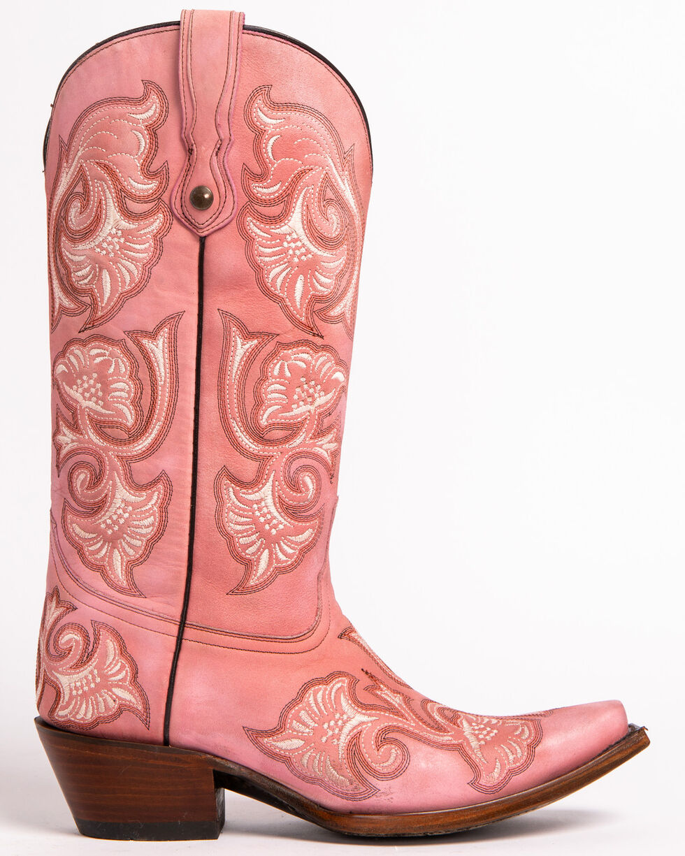 Corral Women's Floral Stitched Snip Toe Western Boots, Pink, hi-res