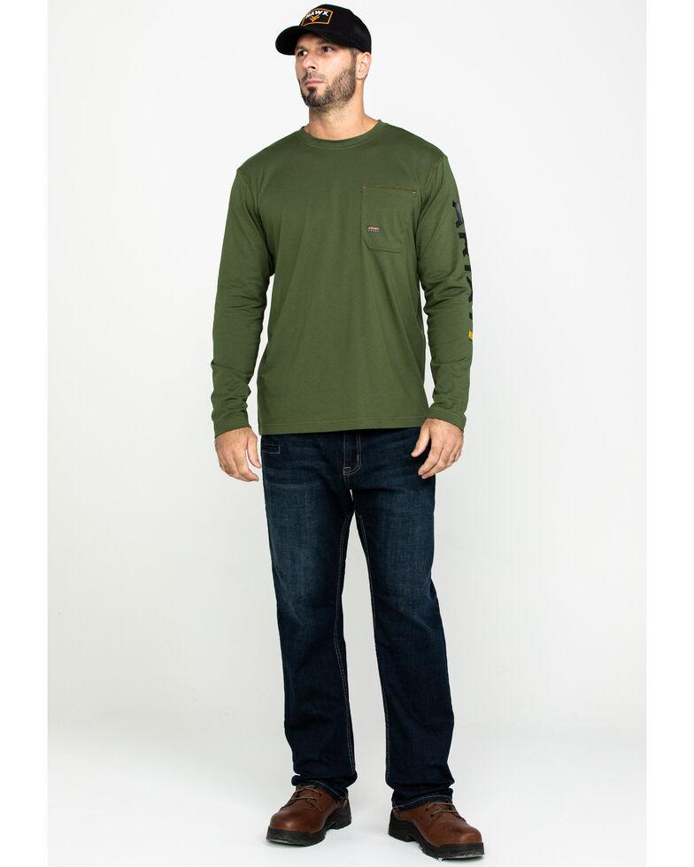 Ariat Men's Green Rebar Workman Long Sleeve Work Shirt - Big & Tall , Green, hi-res