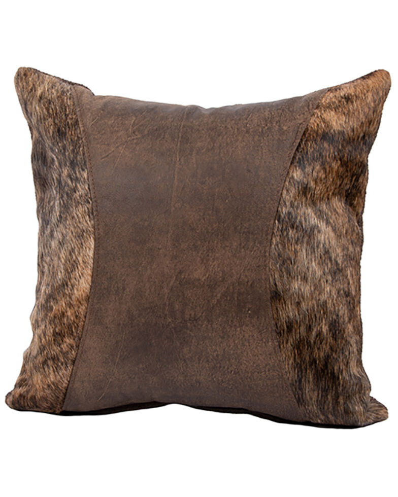 Carroll Co. Outlaw Timber & Hair Leather Pillow, Brown, hi-res