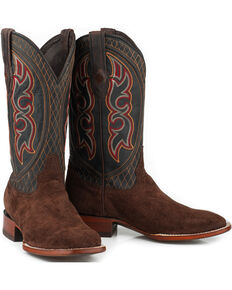 Stetson Men's Brown Leather Hippo Boots - Square Toe , Brown, hi-res