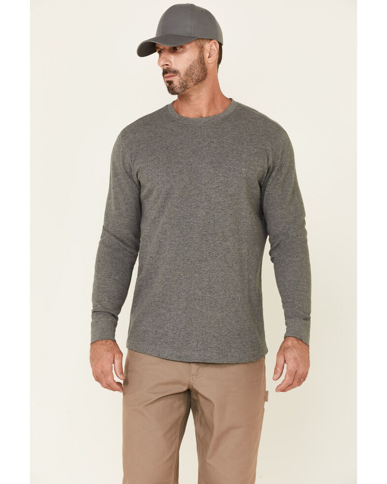 Hawx Men's Dark Grey Thermal Waffle Gear Graphic Crew Long Sleeve Work Shirt , Dark Grey, hi-res