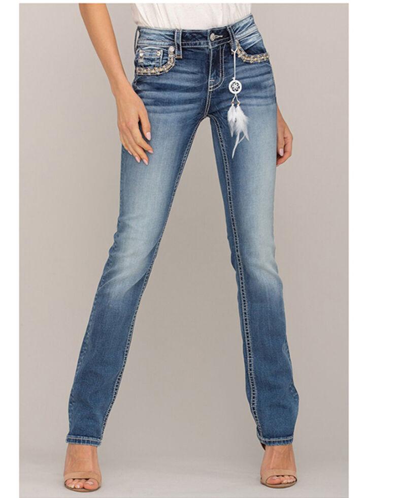 "Miss Me Women's Medium Border Pocket 33"" Straight Jeans  , Blue, hi-res"