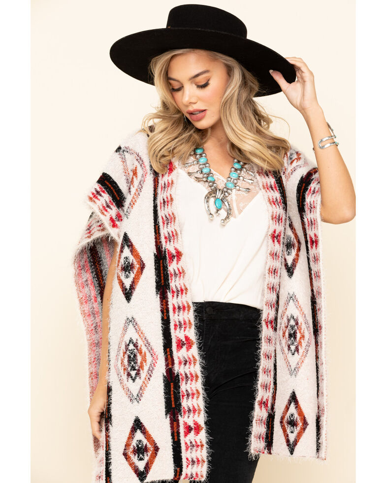 Shyanne Women's Eyelash Knit Aztec Print Shawl, Multi, hi-res