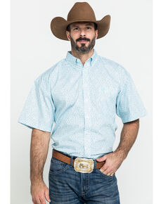 Panhandle Select Men's White Poplin Geo Print Short Sleeve Western Shirt , White, hi-res