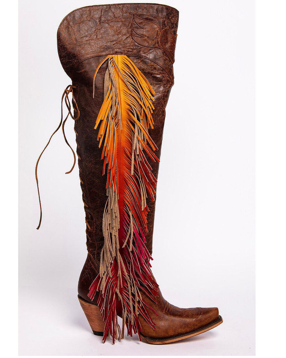 Lane Women's Spirit Animal Ombre Fringe Western Boots, Brown, hi-res