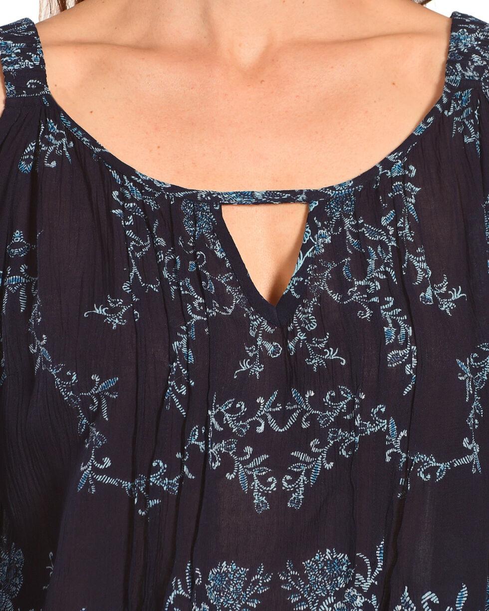 Bila Women's Navy Floral Cold Shoulder Top , Navy, hi-res