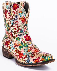 Roper Women's Ingrid Floral Western Booties - Snip Toe, Multi, hi-res