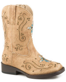 Roper Toddler Girls' Faith Crystal Cross Cowgirl Boots - Square Toe, Tan, hi-res