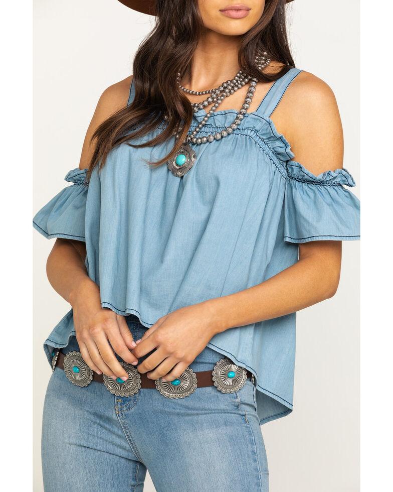 Five Star Women's Blue Denim Cold Shoulder Top, Blue, hi-res